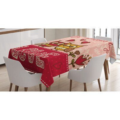 East Urban Home Ambesonne Valentines Day Tablecloth Owls In Love Print Partners Couples Boho East Urban Home Ambesonne Valentines Day Tablecloth Owls In Love Print Partne...