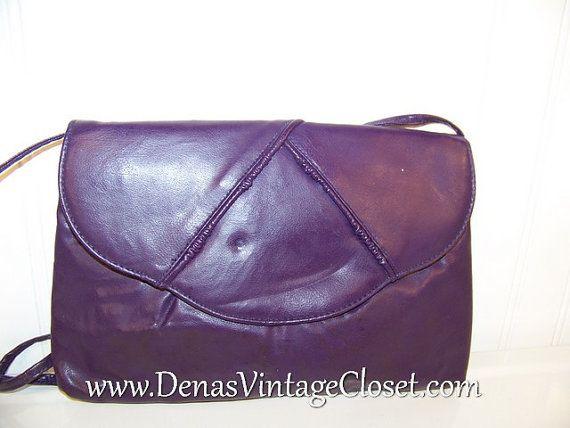 Vintage 80s Purple Faux Leather Clutch by DenasVintageCloset