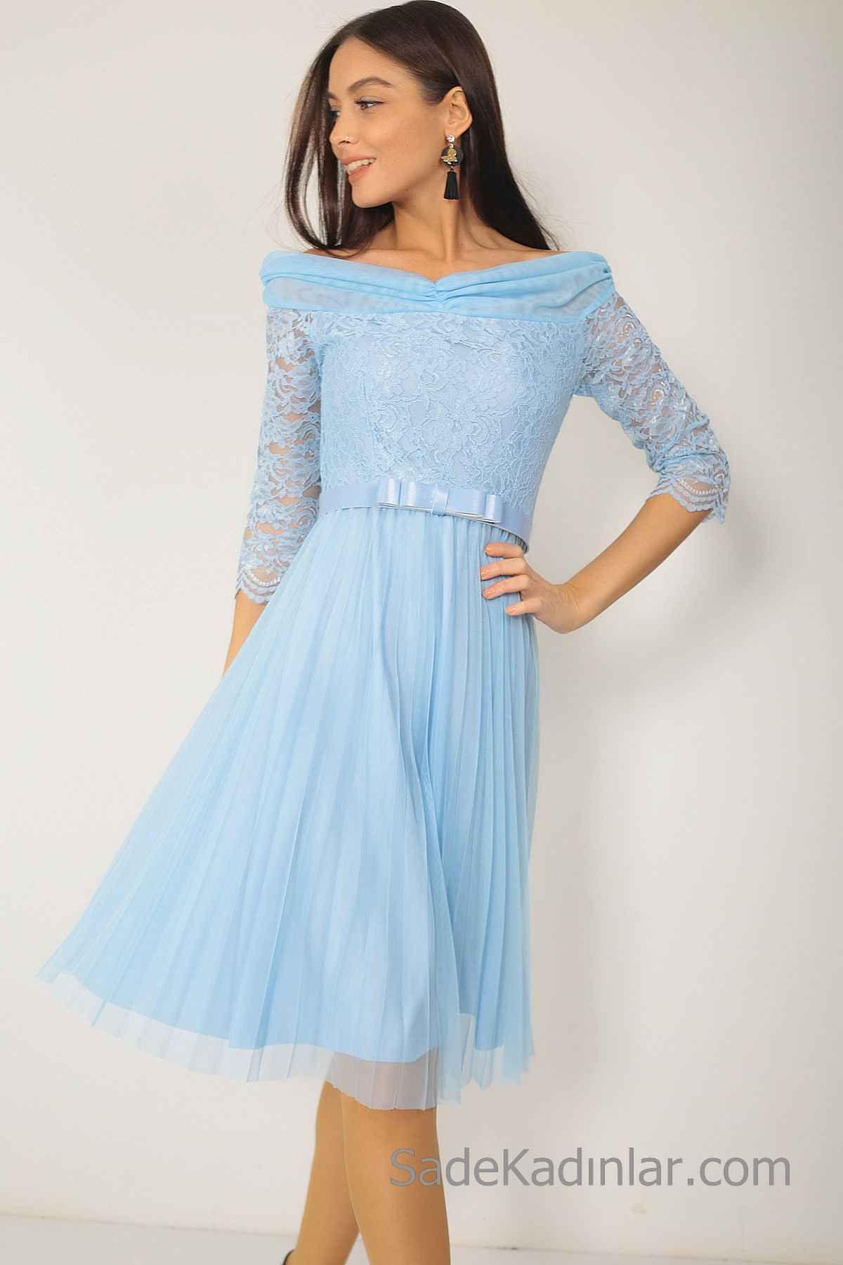 2020 Bebe Mavisi Elbise Modelleri Dizboyu Kayik Yaka Uzun Kollu Gupurlu Pileli Tul Etek Elbise Modelleri Klas Elbiseler Elbise