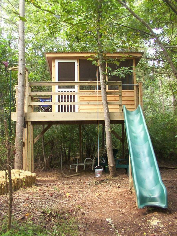 Cool treehouse ideas swingset pinterest treehouse for Best treehouse designs