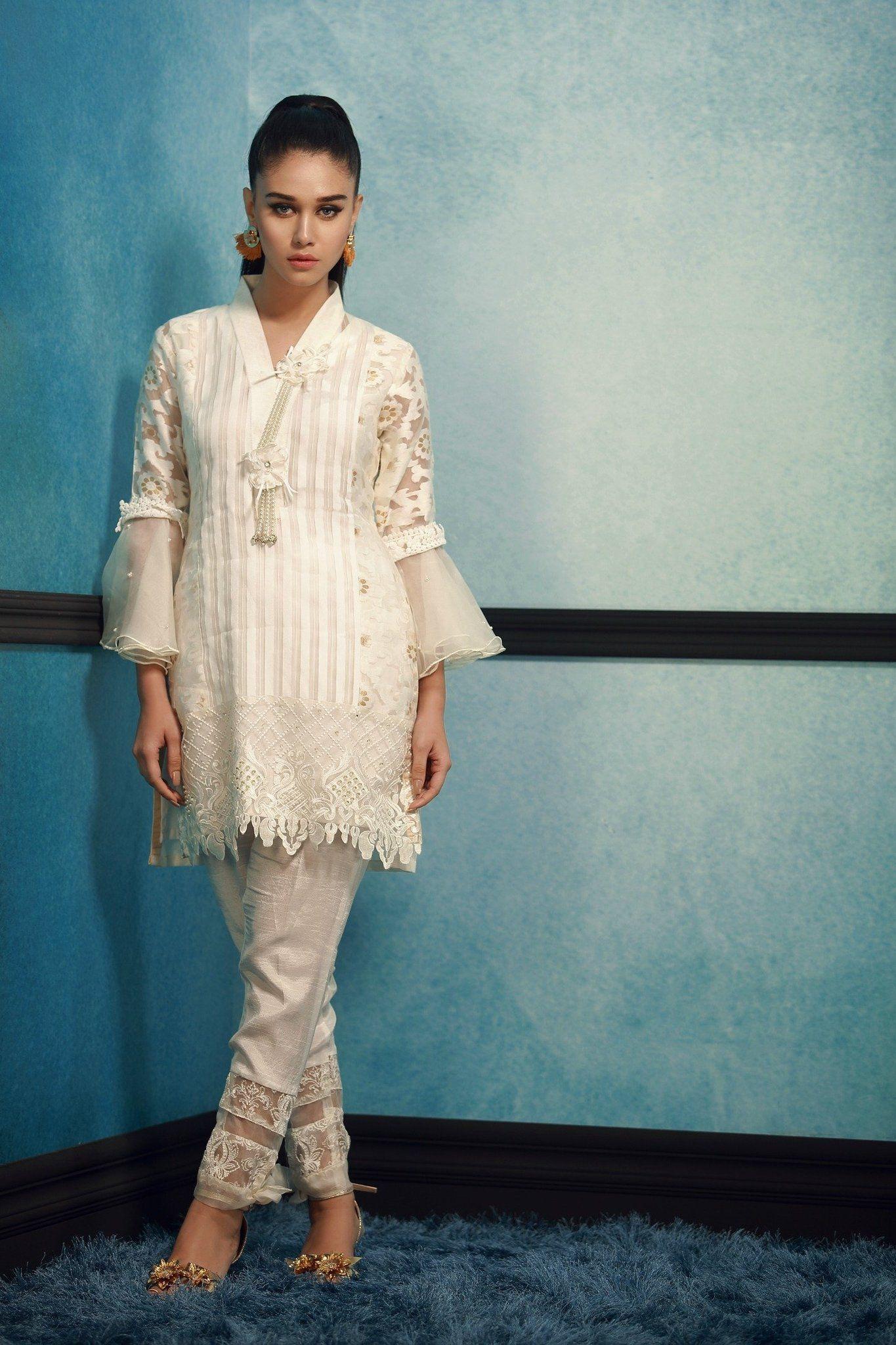 fe582204e1 A beautiful white Pakistani khaadi net dress#springcollection #spring  #readytowear #pretwear #