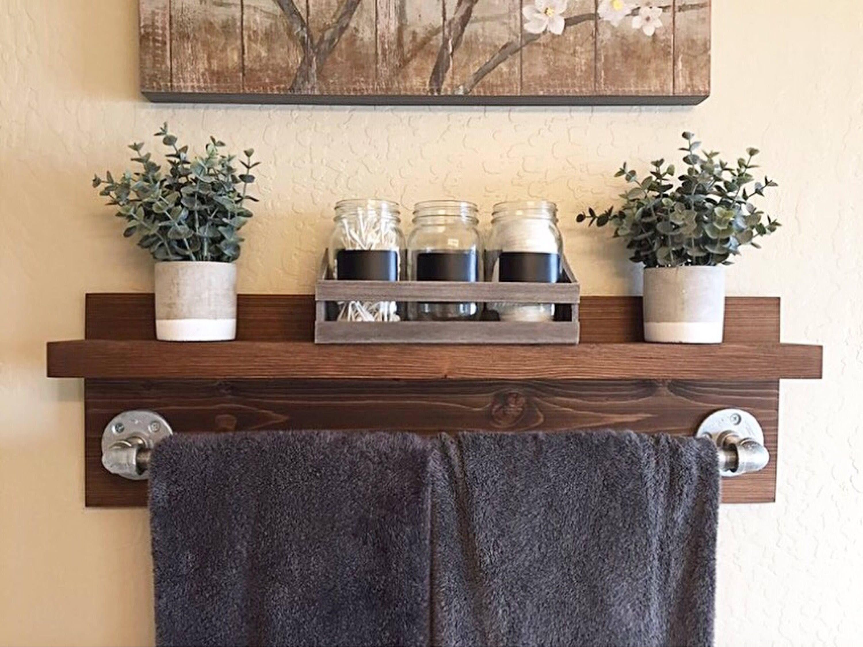 Medium Of Wood Bathroom Shelves