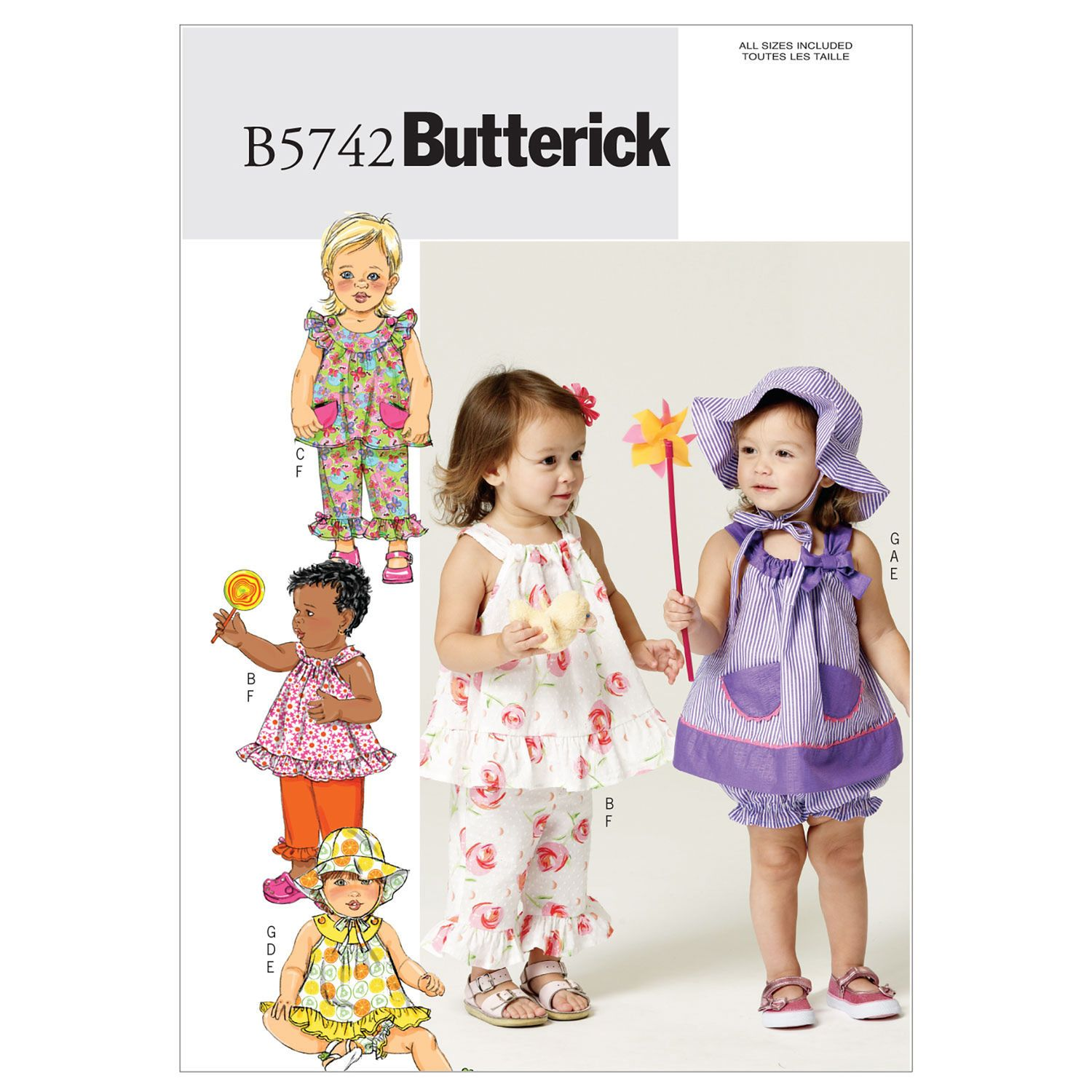 Butterick Infants' Top, Bloomers, Pants and Hat Pattern - Size: All Sizes in One Envelope - Pattern Number: B5742