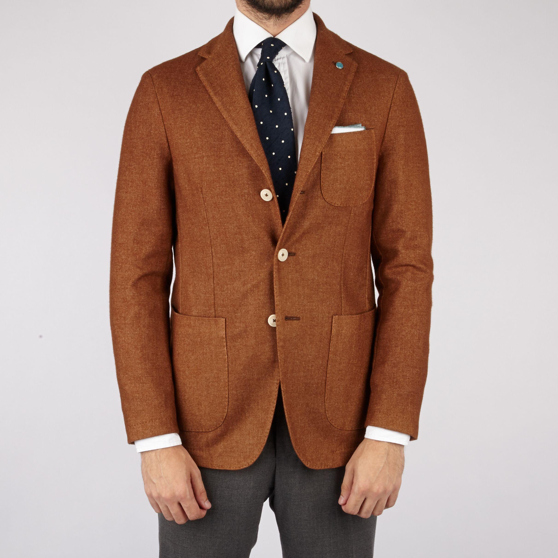 Eidos Cashmere Wool Blend Unstructured Sport Coat in Rust | Sport ...