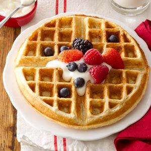 Oatmeal waffles  Ingredients  1-1/2 cups all-purpose flour  1 cup quick-cooking oats  3 teaspoons baking powder  1/2 teaspoon ground cinnamon  1/4 teaspoon salt, optional  2 eggs, lightly beaten  1-1/2 cups milk  6 tablespoons butter, melted  2 tablespoons brown sugar  Assorted fresh fruit and yogurt of your choice