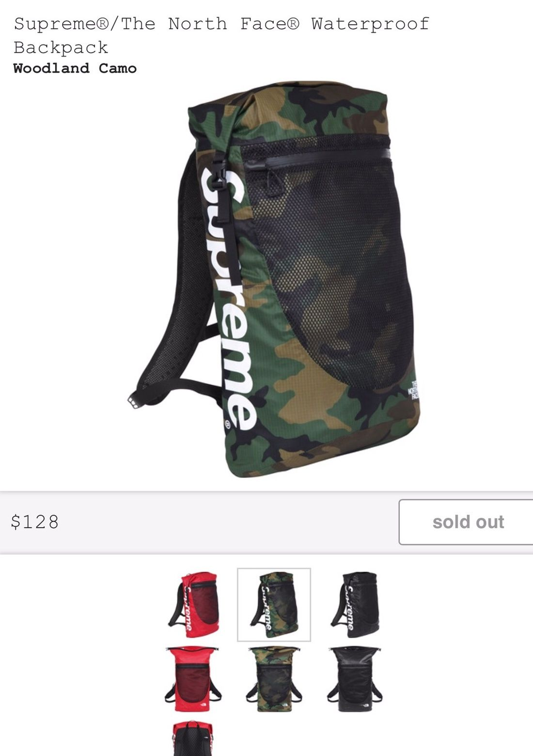 828082eb Supreme The North Face Waterproof Backpack Woodland Camo- Fenix ...