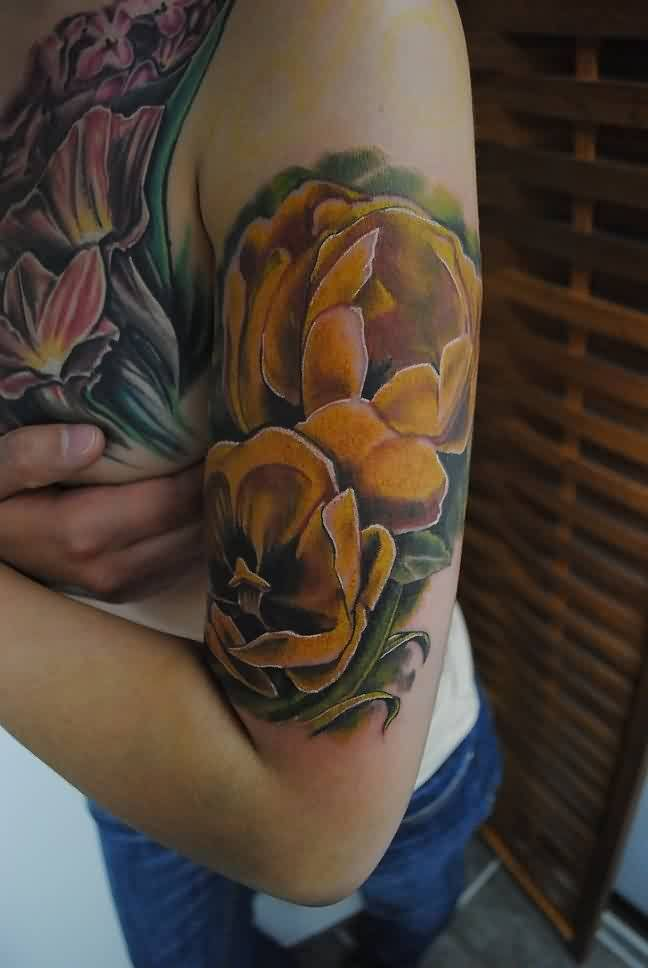Realistic Yellow Tulip Tattoos On Biceps | Realistic Tulip ...