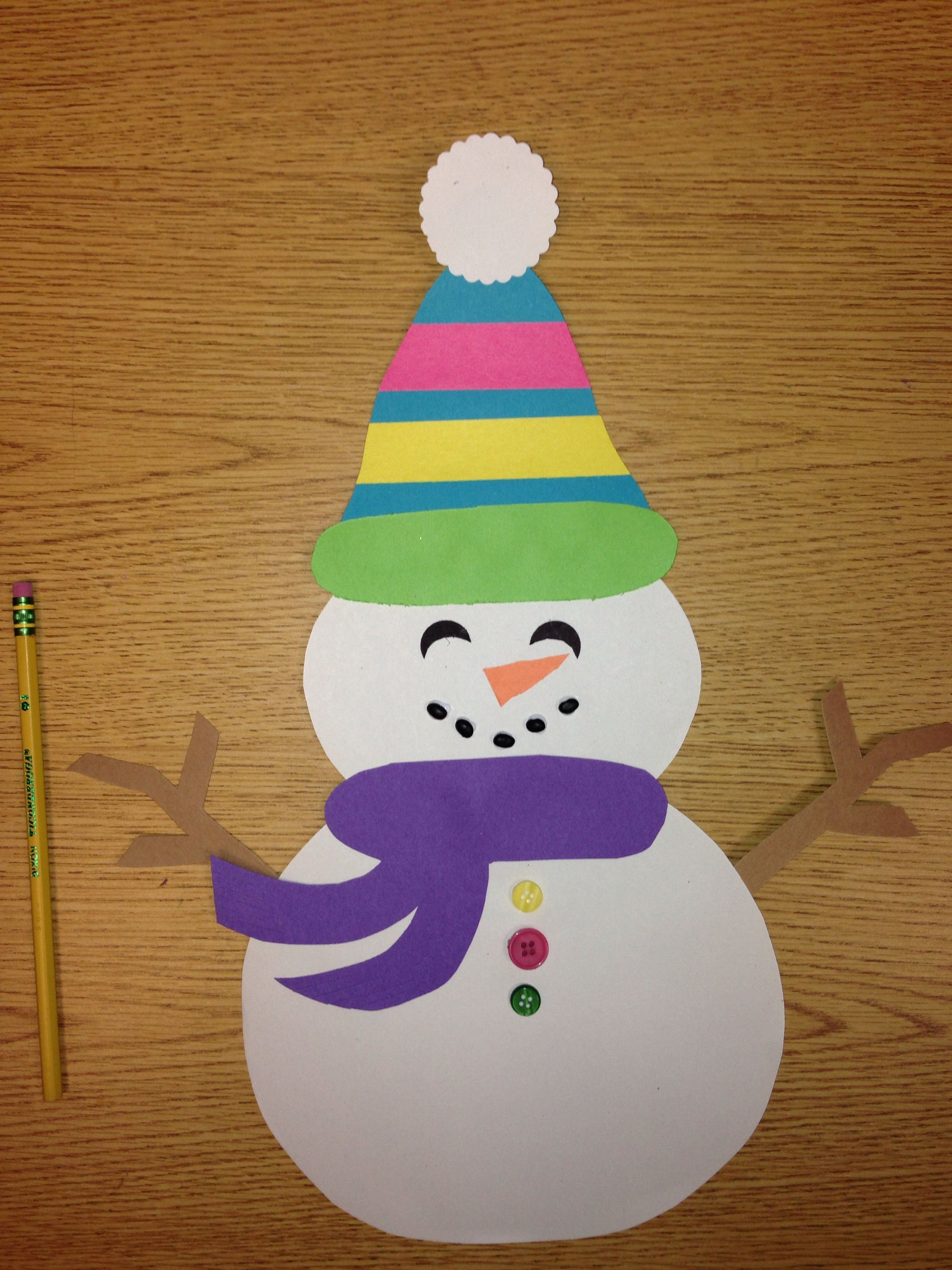 Snowman Craft Easy Kindergarten Or 1st Grade I Used With