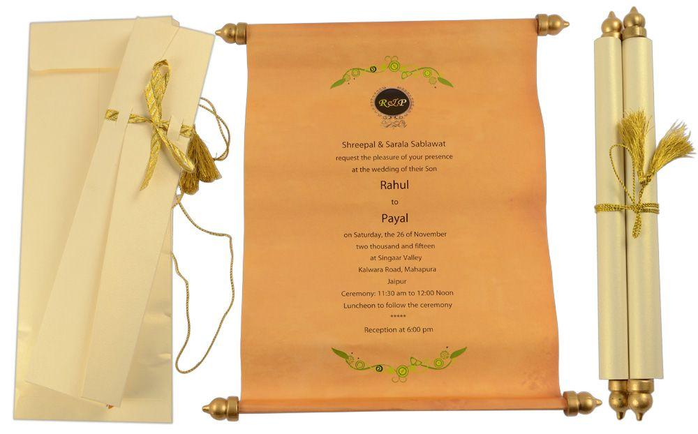 S1089, Cream Color, Shimmery Finish Paper, Scroll Invitations ...