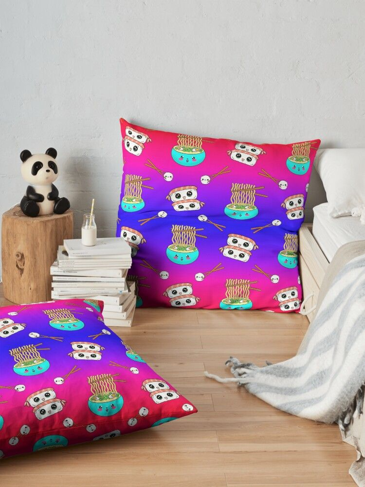 Cute funny Kawaii chibi little blue bowl ramen noodles, happy cheerful sushi with shrimp on top, rice balls and chopsticks blue pink and red pattern design. Nursery decor. Floor Pillow