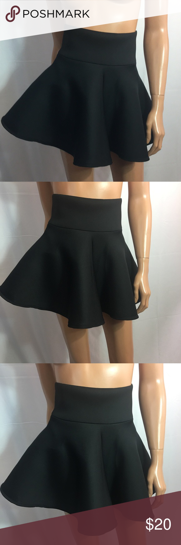 "70e38df3936d Reu fang garments high waist stretch mini skirt Reu fang garments junior  girl ,high waist stretch mini skirt , flared plain, waist 12.5"" (full waist  25"") ..."
