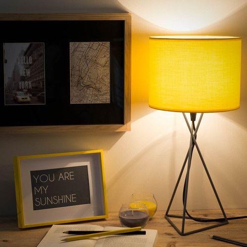 lampe en m tal grise et abat jour jaune h 43 cm gary for home pinterest. Black Bedroom Furniture Sets. Home Design Ideas