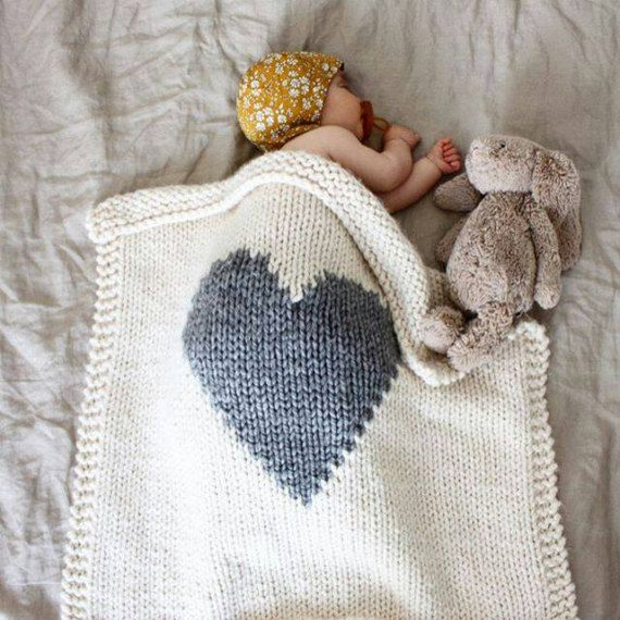 Baby Blanket Heart Cream and Grey, Baby Blanket Knitted for Bassinet ...