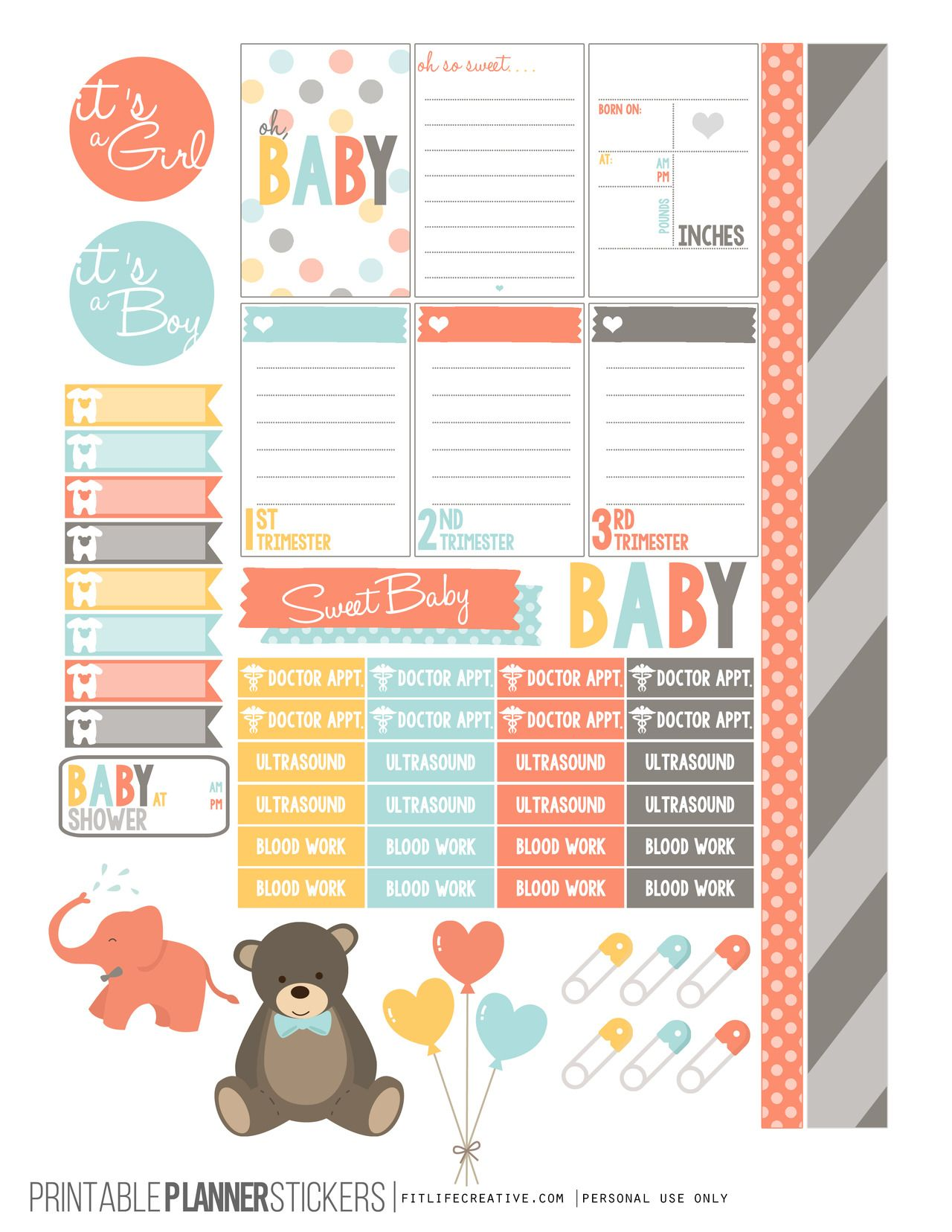 Pregnancy Free Printable Planner stickers for the classic size Happy Planner.  Includes 2 full pages of planner stickers.