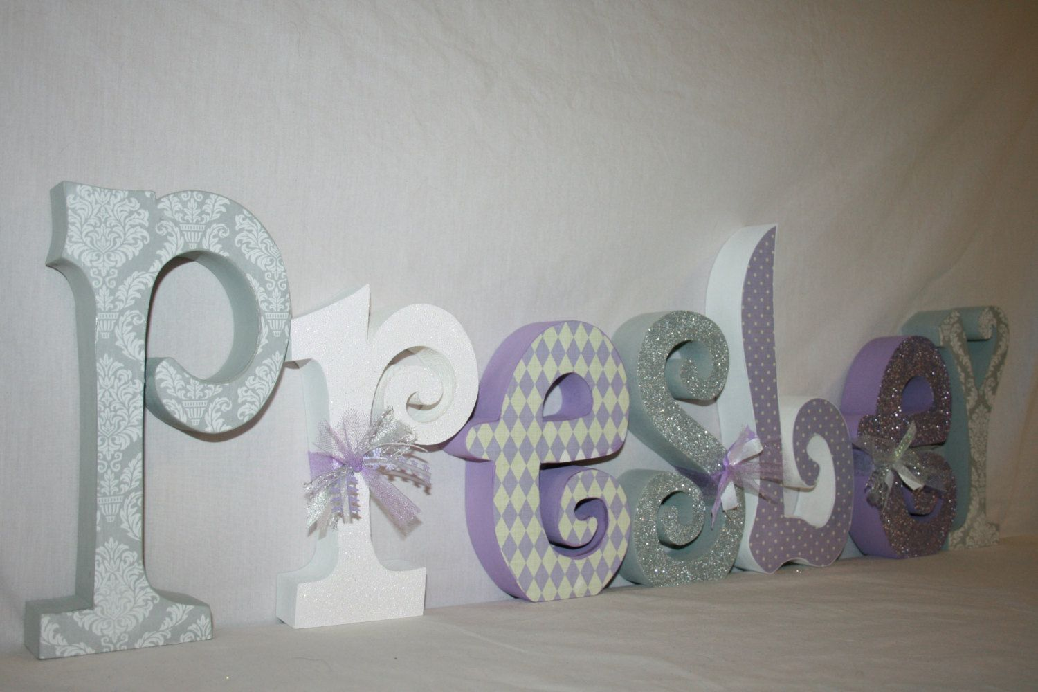 Baby Wooden Letters Lavender And Gray Damask Room Decor Name Nursery