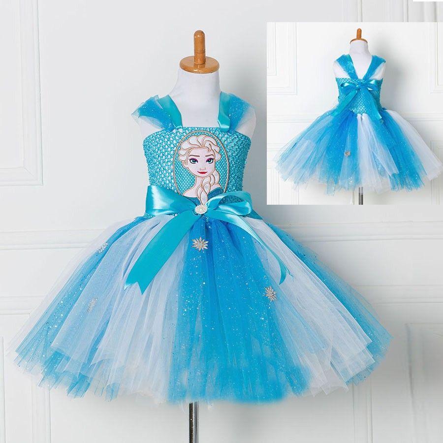 Tulle Tutu Dress Princess Anna Elsa Dress Snow Queen Halloween Party ...