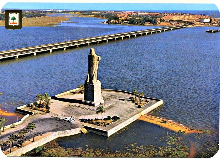 Postales De Huelva Punta Del Sebo Monumento A La Fe Descubridora 1929 La Escultora Miss Withney Lo Paisajes De España Andalucia España Lugares De España