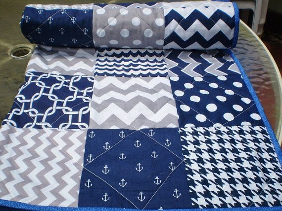 Nautical Baby quilt, navy, grey, chevron, crib quilt, baby girl ... : nautical patchwork quilt - Adamdwight.com