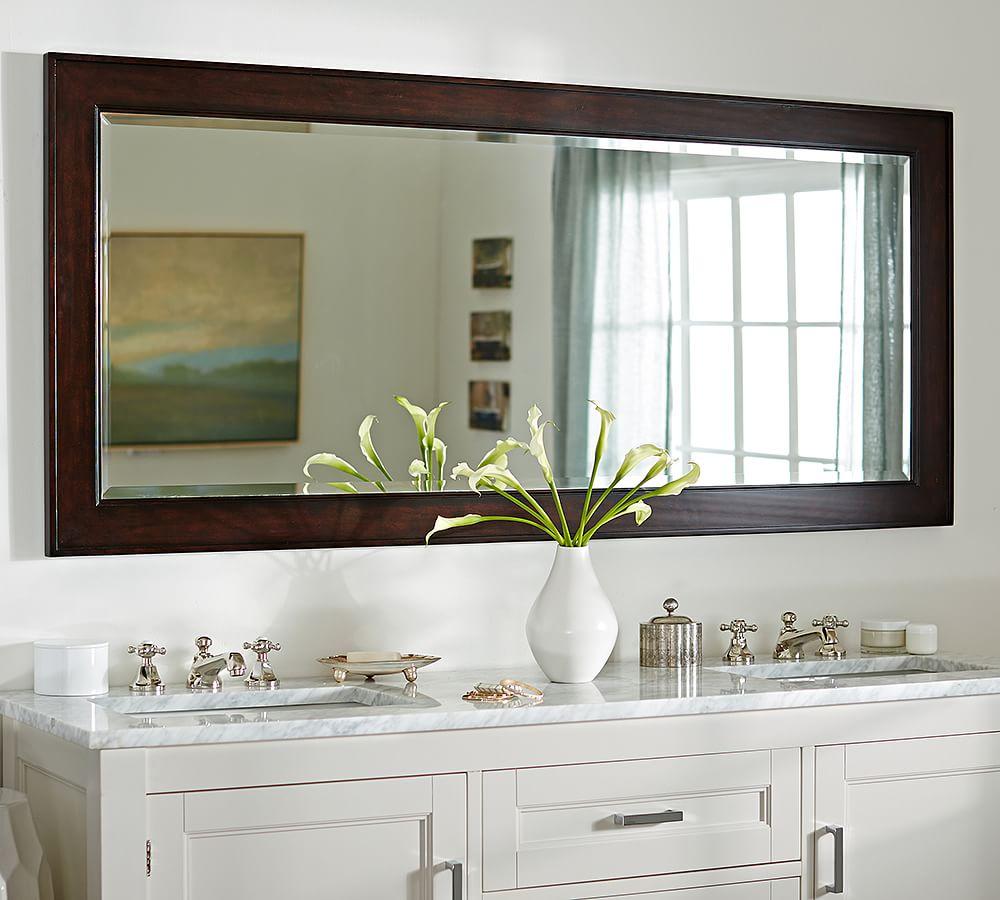 Classic Double Wide Rectangular Mirror Bathroom Decor Rustic Bathrooms Small Bathroom Decor