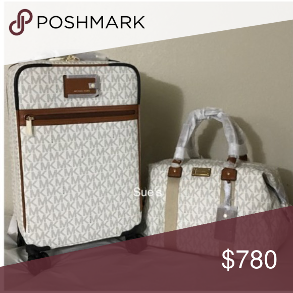 6f7c2040e08b Micheal Kors 3 Piece Travel Set Signature Vanilla. Includes suitcase, large  duffel bag, passport holder/wallet. All matching. New, never used. MICHAEL  ...