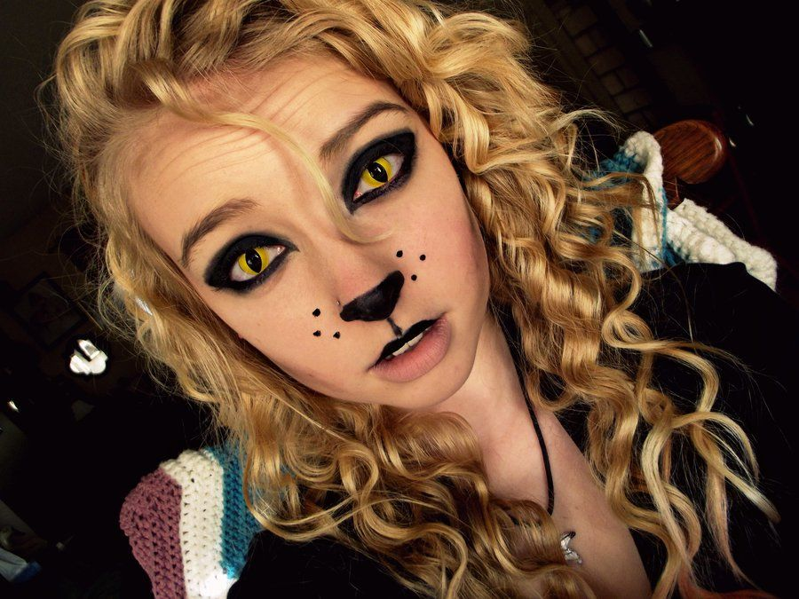 i am thinking about doing this love the contacts make it a scary cat - Scary Cat Halloween Costume