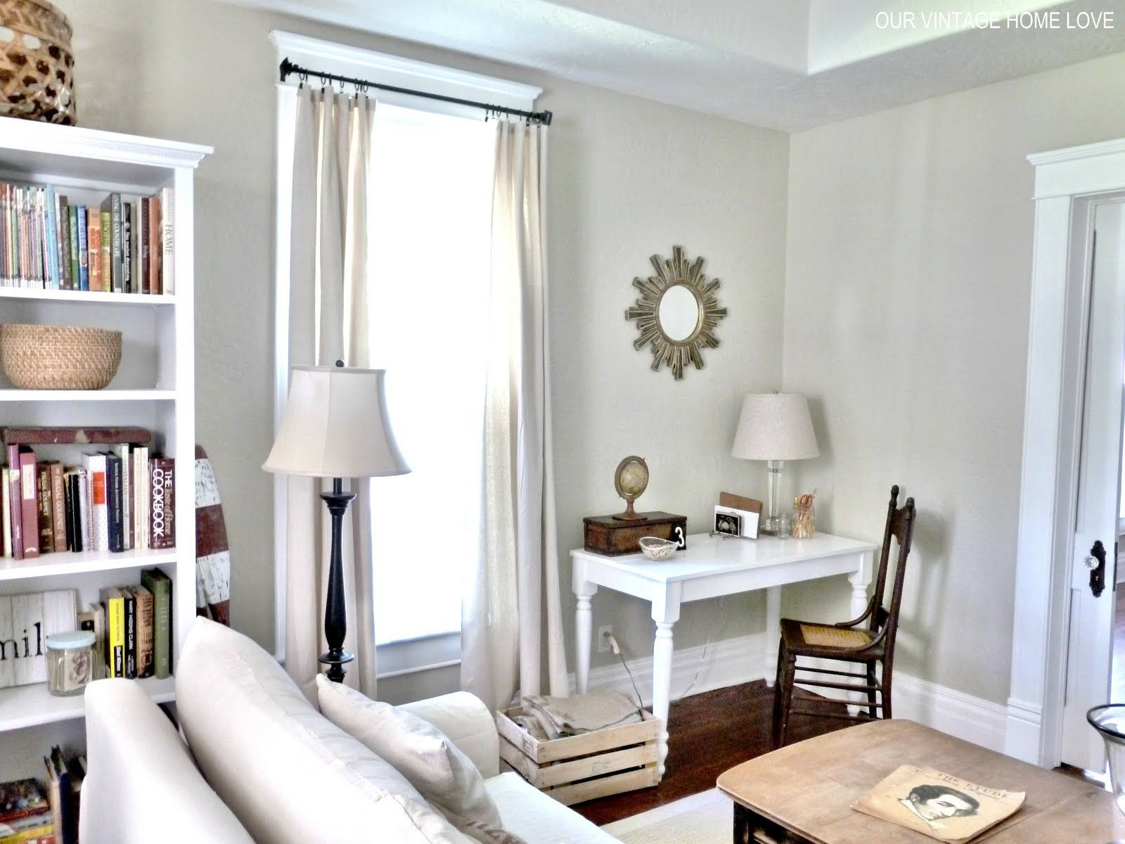 Cute living room w desk area live bedroom office - Living room office combination ...