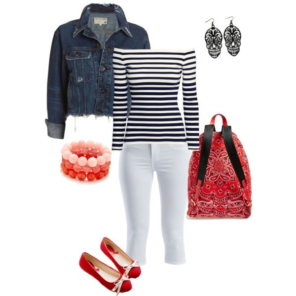 A fashion look from March 2015 featuring white tops, blue jackets and capri pants. Browse and shop related looks.