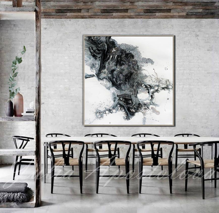 45x45 Black And White Watercolour Painting Etsy In 2020 Kitchen Canvas Art Modern Rustic Decor Watercolor Painting Etsy