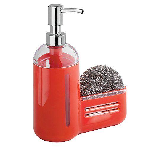mdesign kitchen sink soap dispenser pump and sponge caddy https