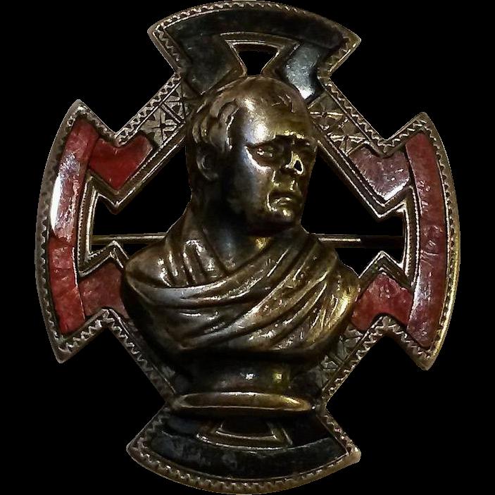 Antique Scottish silver agate pin Sir Walter Scott