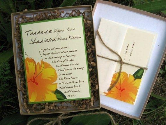 Boxed Hawaiian Tropical Wedding Invitation Beach by seaCreative, $8.00
