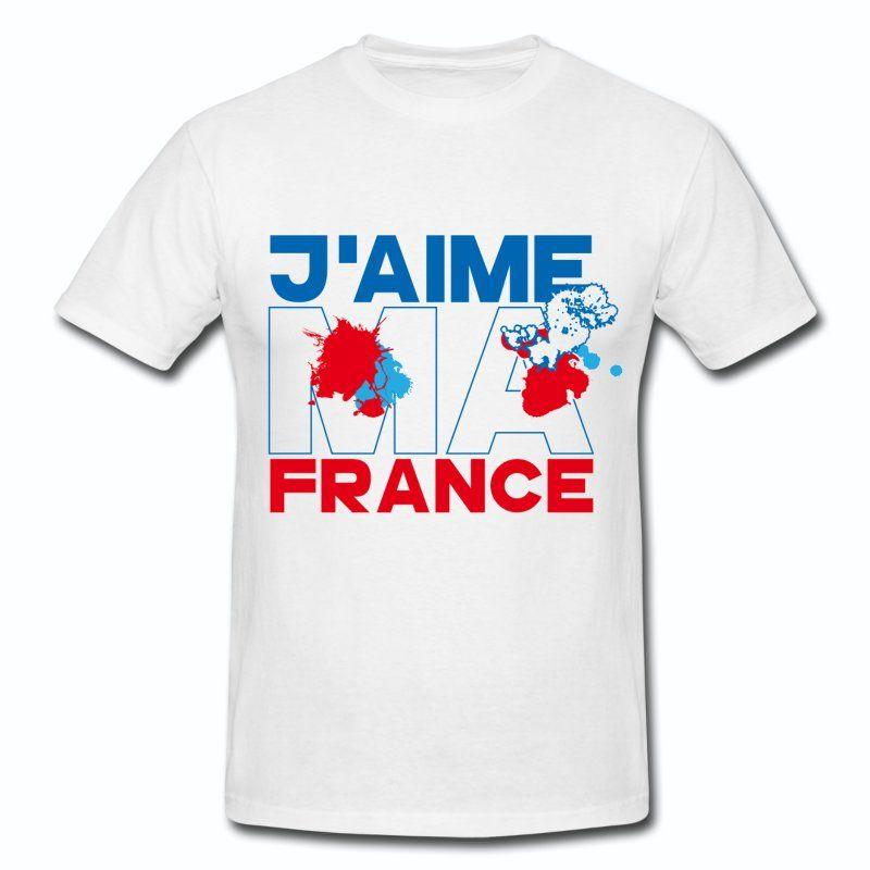 T Shirt Blanc France Design Bleu Blanc Rouge Jaime Ma France I