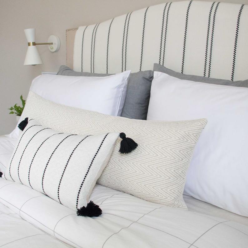 White & Cream Chevron Textured Pillow Cover 14x36 // | Etsy
