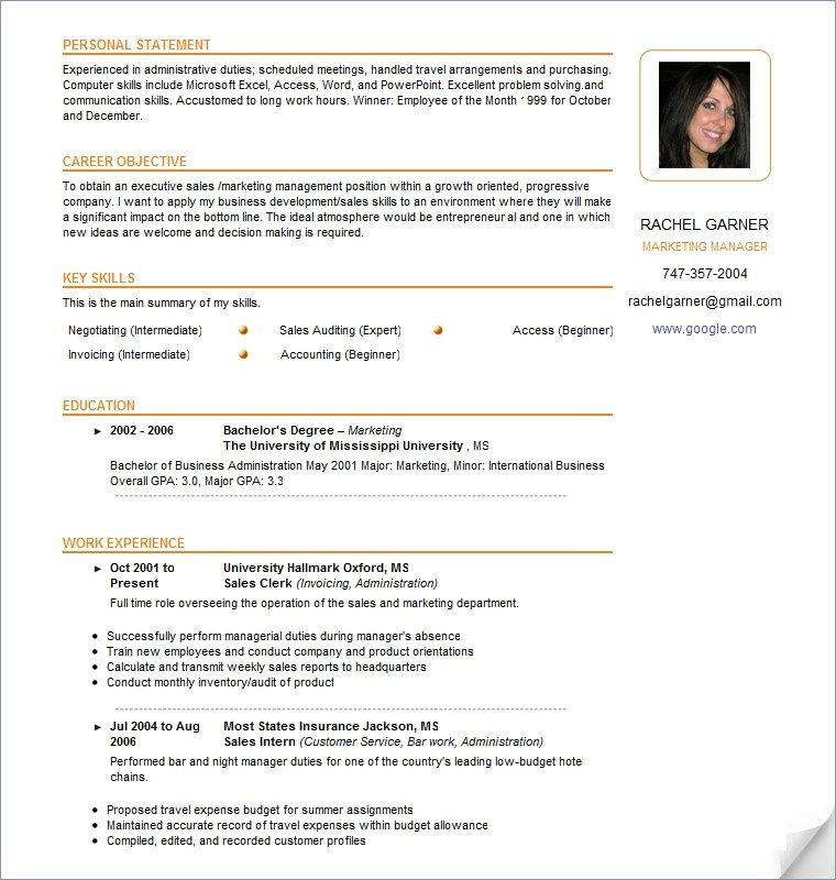 Inspiring Model Resume Template Collection di 2020