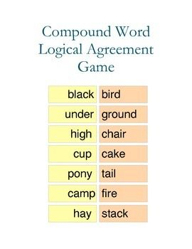Compound Word Logical Agreement Game Compound Words Words Montessori Elementary