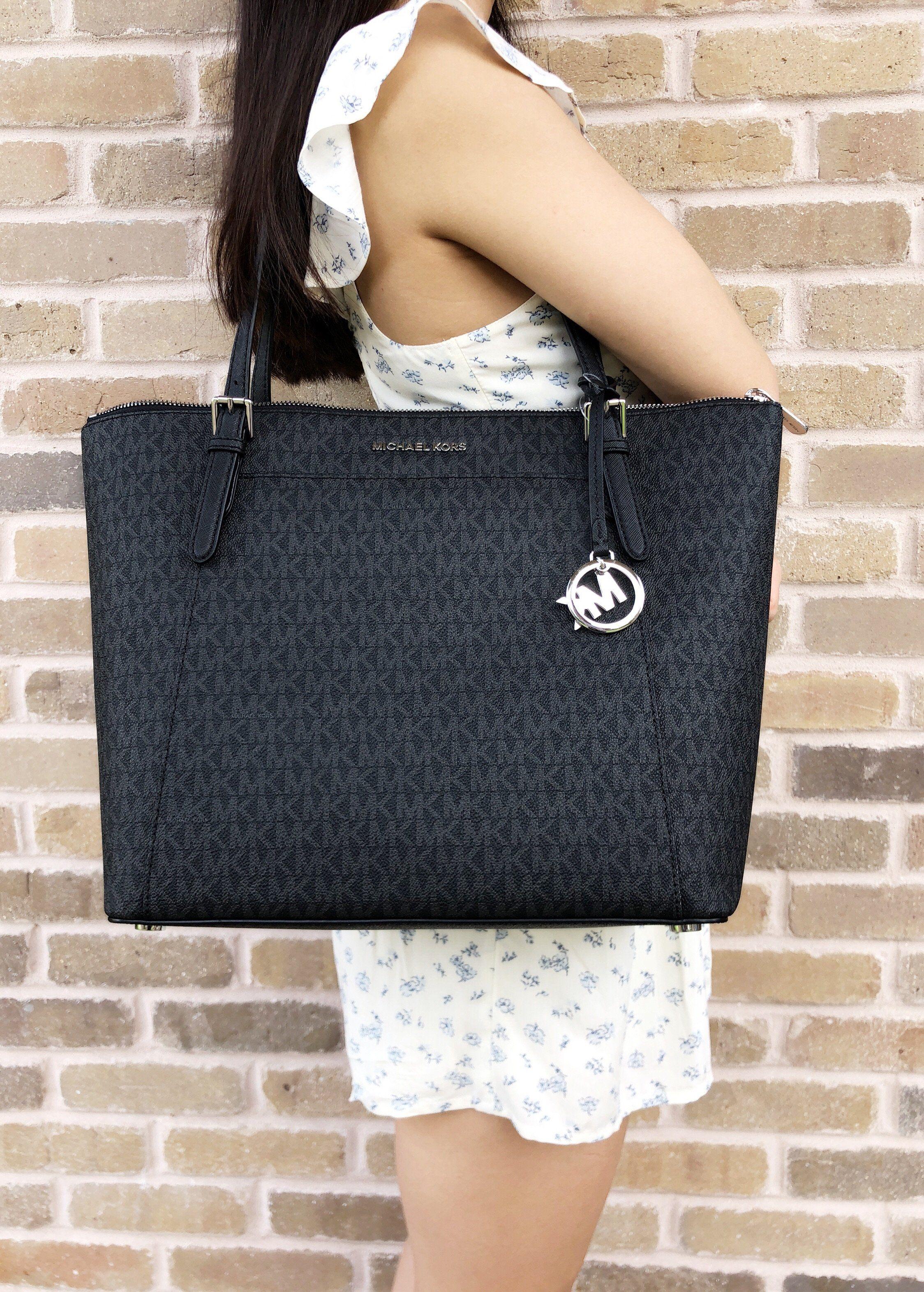 7bbcf2ebebad Michael Kors Ciara Large East West Top Zip Tote Black MK Signature  MK   Handbags  MichaelKors