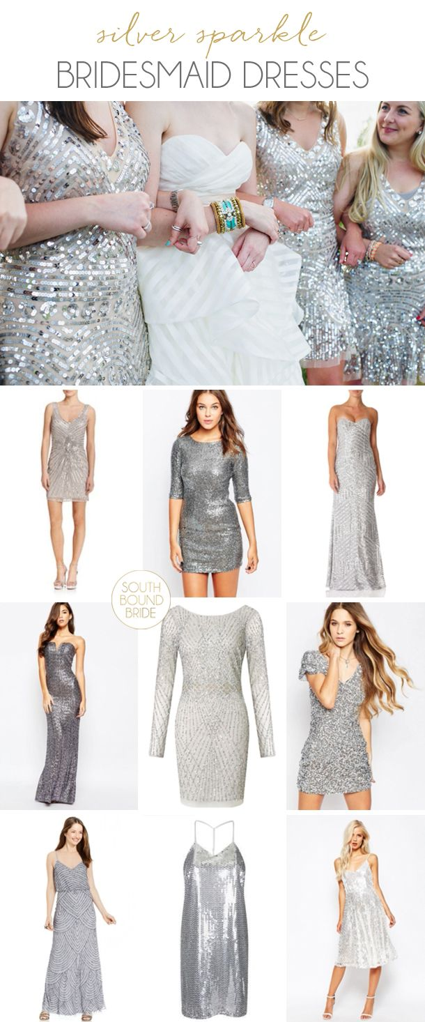 Silver sparkle bridesmaid dresses | SouthBound Bride | http://www.southboundbride.com/silver-sparkle-bridesmaid-dresses | Top image: Flora + Fauna/The Pollen Project/Free People via Ruffled
