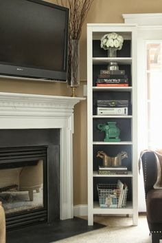 Corner Fireplace Tv Mounted Above Small Room Where To