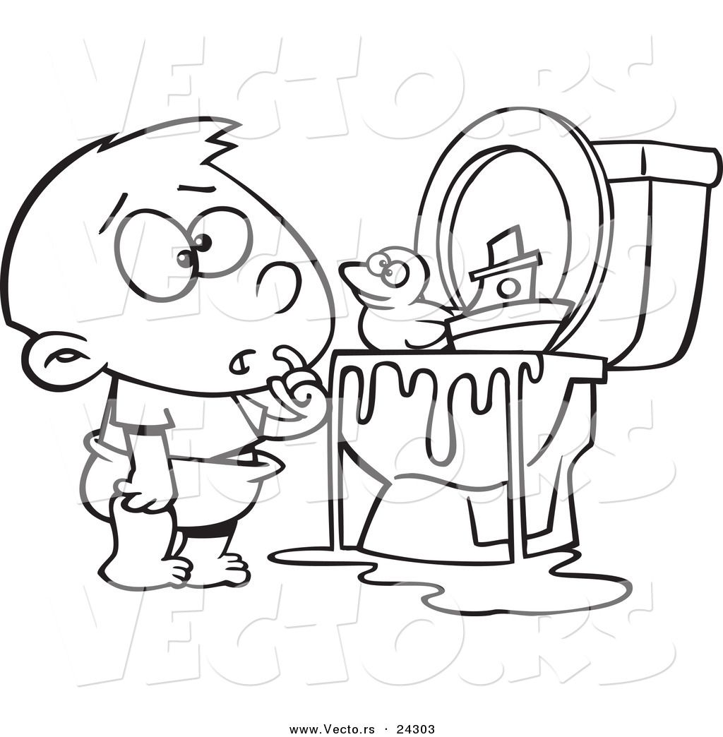 Vector Of A Cartoon Boy With Toys In The Toilet Black And White
