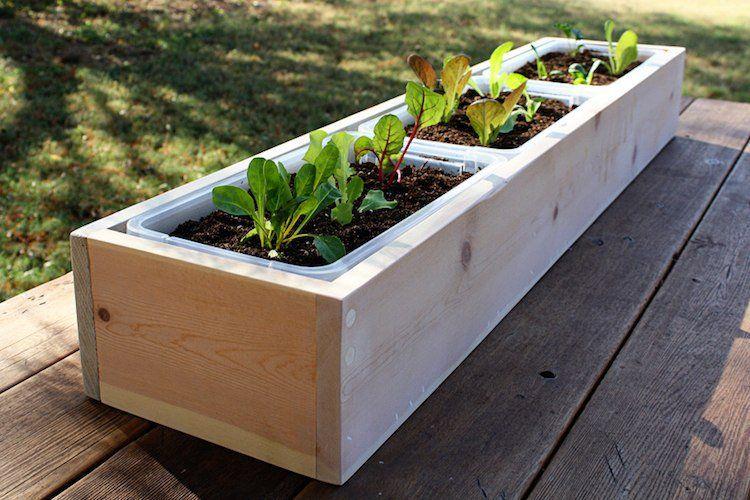 Bac à fleurs en bois à faire soi-même- plus de 52 idées DIY - comment etancher une terrasse beton