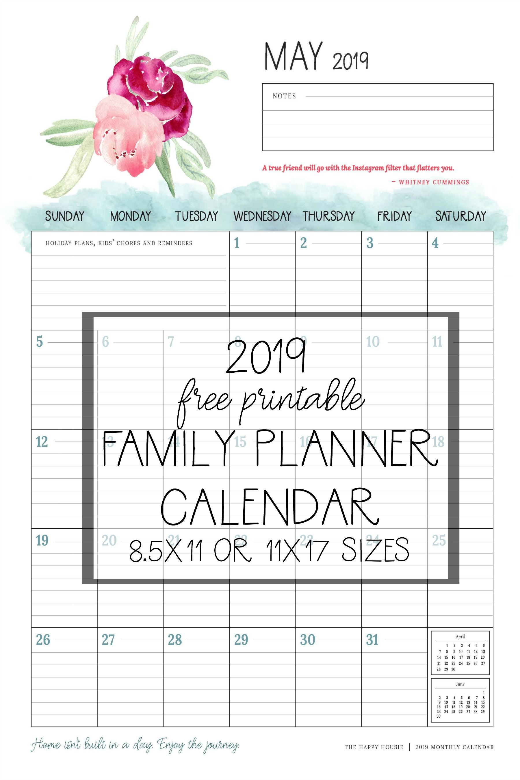 image about Family Planner Calendar titled Cost-free 2019 Printable Calendar Family members Planner Organizer No cost