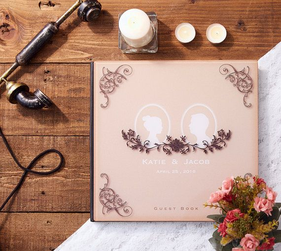 Wedding Guest Book Alternative Guestbook Custom Vintage Silhouette Crystal Acrylic Gb 02