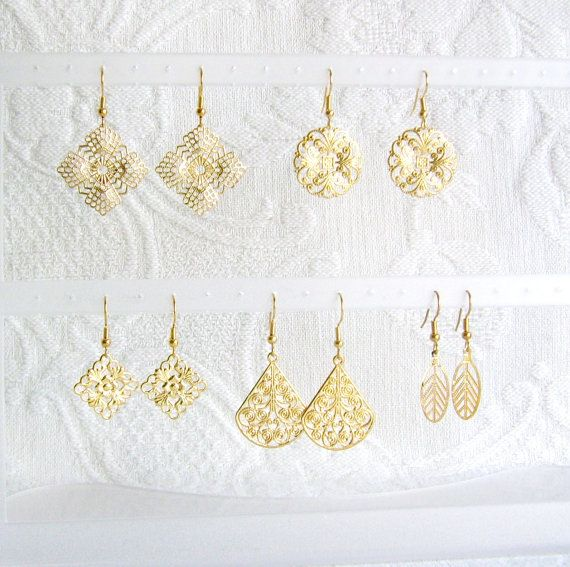 Five Pair Gold or Silver Filigree Pierced or Clip by JeweledFibers, $12.50
