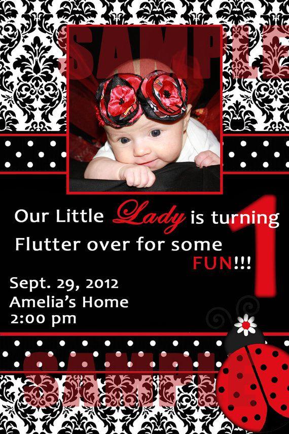 Classy Ladybug 1st Birthday Invite Digital File You by monkiestuff ...