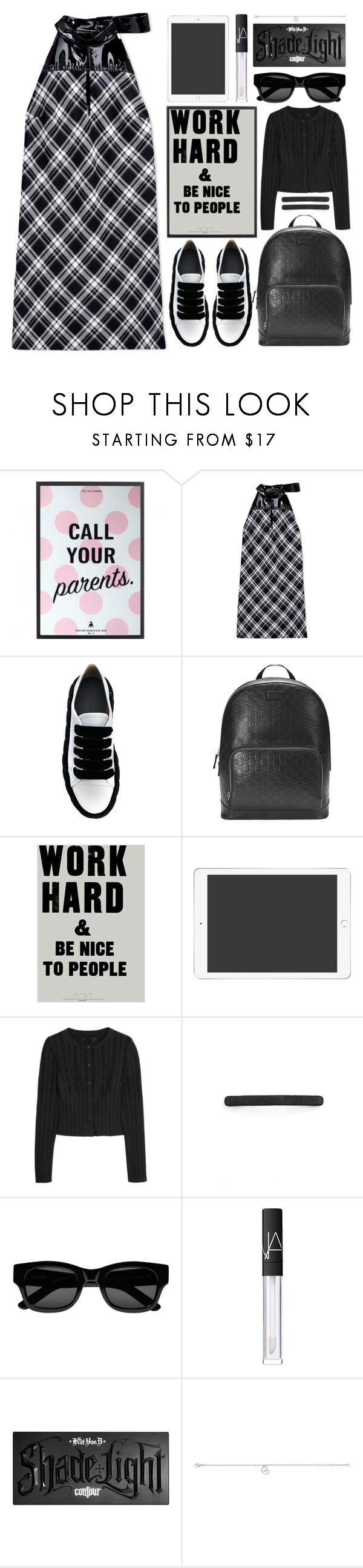 """""""work hard"""" by foundlostme ❤ liked on Polyvore featuring Maison Margiela, Marco de Vincenzo, Gucci, Alaïa, L. Erickson, Sun Buddies, NARS Cosmetics, Kat Von D, Georg Jensen and whitesneakers"""