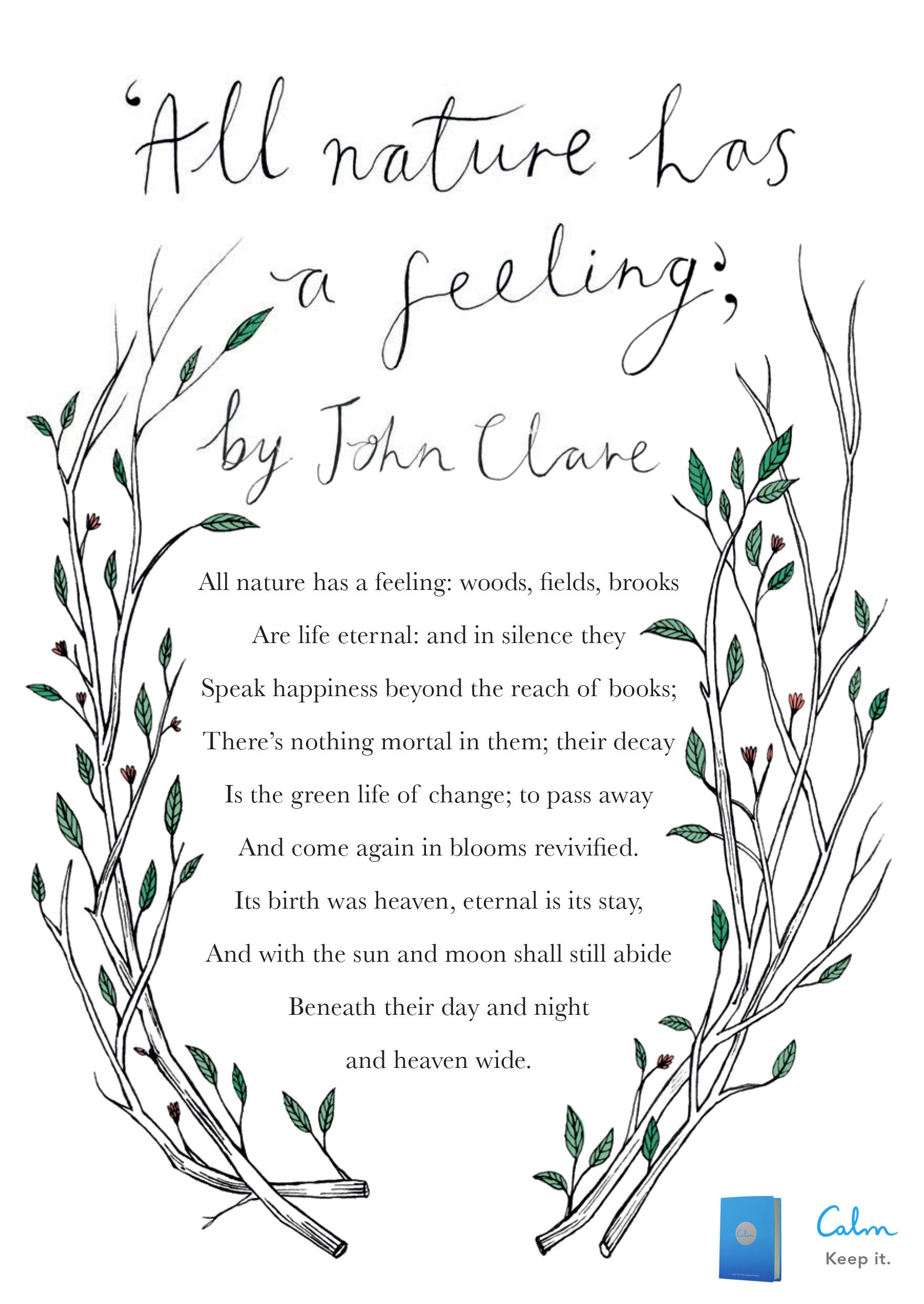 all nature has a feeling by john clare calm calm the mind all nature has a feeling by john clare calm calm the mind change