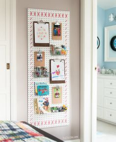 Pegboard behind seating for tiny stuff and artwork on clipboards