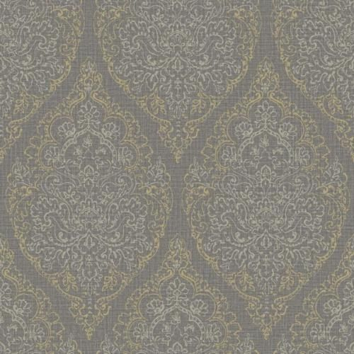 Boho Chic -BC 81306 Tapete Vlies Barock Grau Anthrazit Gold Silber - tapete grau beige