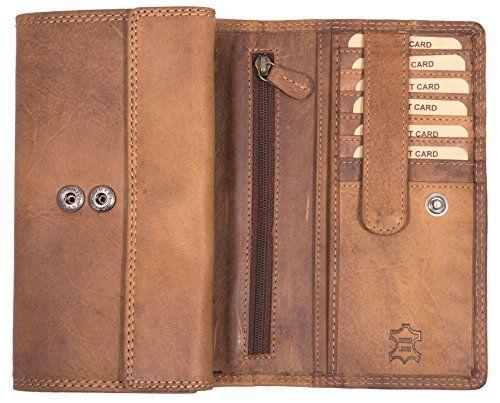 Damen Geldbörse Geldbeutel Echtleder Portemonnaie Braun Vintage Damen-accessoires