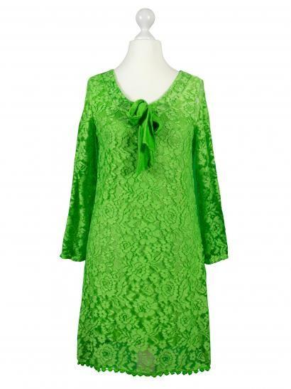 Damen Spitzentunika mit Seide, grün
